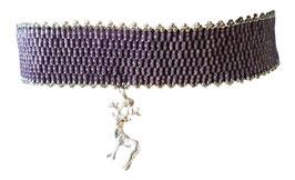 Kropfband flieder mit 925er Silber Hirschanhäger