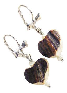 Ohrring Herzerl Hirschhornherz mit Süßwasserperlen