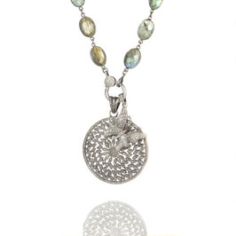 Bezelnecklace Labradorite with pendant Medallion Wheel and Butterfly