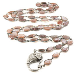 "Diamond ""Elephantclasp""  on a Chocolate Moonstone Bezelnecklace"