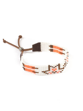 Armband suède wit/oranje