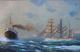 "Art work by Robert Carter ""Clan McLeod Hove To"""