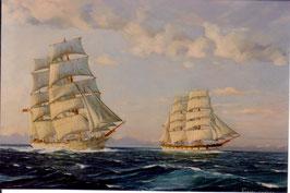 "Art work by Robert Carter ""Tasman Crossing   The barques James Craig and Louisa Craig"""