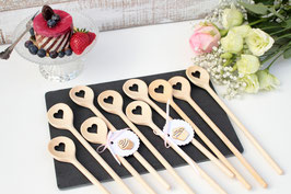 Probe Gastgeschenkset 3-teilig besteht aus 3 kleiner Herzkochlöffel /ohne Dekoration!/