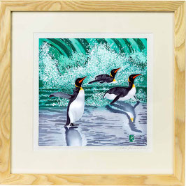 Emperors In The Surf - Penguin Trio Giclee Batik Print