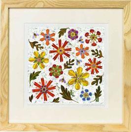 Bees In The Jewel Garden Giclee Batik Print