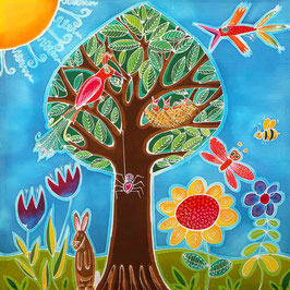 Tree of Birds Giclee Batik Print
