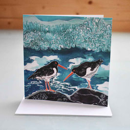 Shell Island Oyster Catchers Greeting Card
