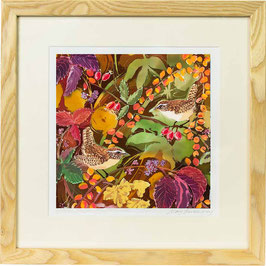 Wrens in Autumn Giclee Batik Print