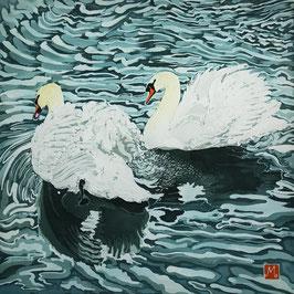 Mute Swans Giclee Batik Print