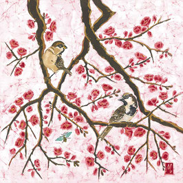 Sparrows on Japonica Giclee Batik Print