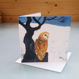 Barn Owl And Full Moon (Sitting) Greeting Card