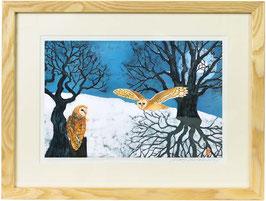 Barn Owls In Full Moon Shadows Giclee Batik Print