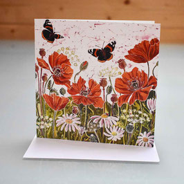 Red Admirals and Poppies Greeting Card
