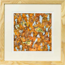 Gold & Firecrests on Larch Giclee Batik Print