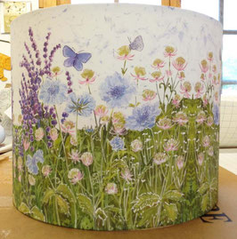 Meadow Blues Floral Butterfly and Flower Lampshade