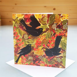 Autumn Blackbirds Greeting Card
