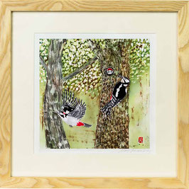 Great Spotted Woodpeckers Giclee Batik Print