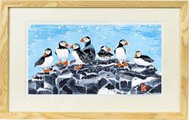 Farne Island Puffins (Rectangular Format) Giclee Batik Print