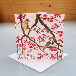 Sparrows On Japonica Greeting Card