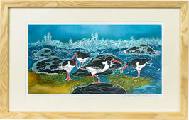 Shell Island Oyster Catchers Rectangular Giclee Batik Print