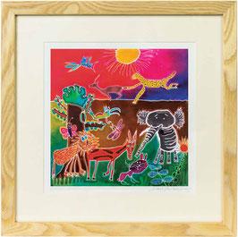 Jungle at Sunset Giclee Batik Print