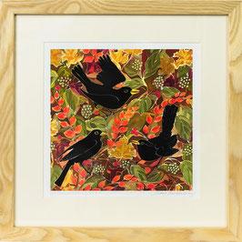 Autumn Blackbirds Giclee Batik Print