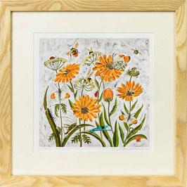 Fleur de Calendule Giclee Batik Print