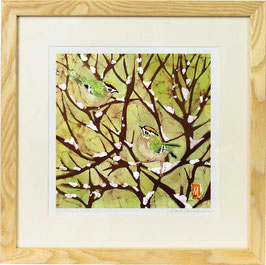 Goldcrests on Snow Giclee Batik Print