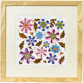 Ladybirds In The Jewel Garden Giclee Batik Print