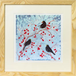 Blackbirds On Red Crab Apples Giclee Batik Print