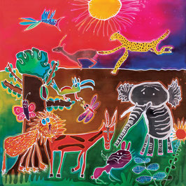 Jungle at Sunset Giclee Batik Print