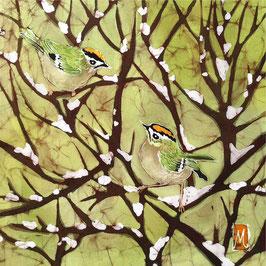 Goldcrests on Snow Giclee Batik Print (Green)