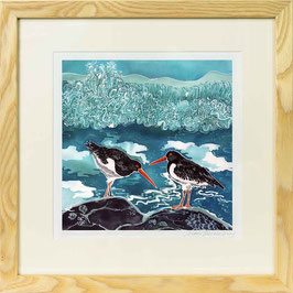 Oyster Catchers Square Giclee Batik Print