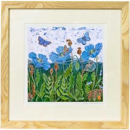 Himalayan Poppies And The Malvern Hills Giclee Batik Print