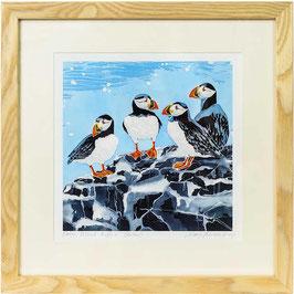 Farne Island Puffins (Square Format) Giclee Batik Print