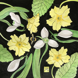Primrose Art - Primroses and Bumble Print