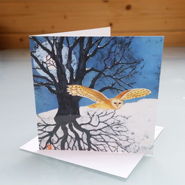 Barn Owl And Full Moon (Flying) Greeting Card