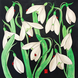 Snowdrop Painting - Snowdrops and Sleepy Ladybirds