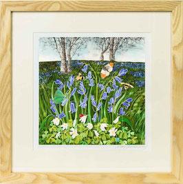Bluebells On The Malvern Hills Giclee Batik Print