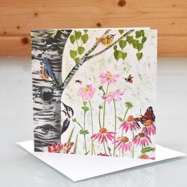 Silver Birch and Wildlife Art Card