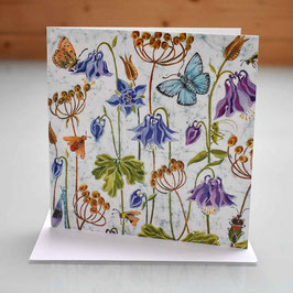 Aquilegia and Butterflies Greeting Card