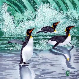 Emperors In The Surf - Penguin Trio Giclee Batik Print