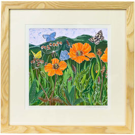 Welsh Poppies And The Malvern Hills Giclee Batik Print