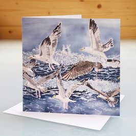 Shell Island Seagulls Art Card