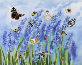 Lavender Meadow Giclee Batik Print (Rectangular Format)