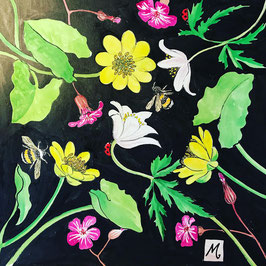 Spring Flowers Art - Woodland Jewels and Bees