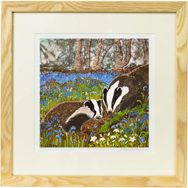 Badgers In The Bluebells, Badger Art Print, Badger Wall Art, British Countryside Woodland Animals