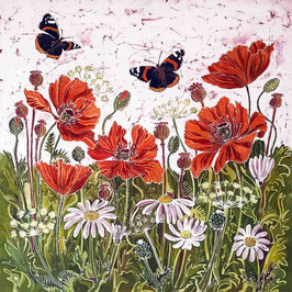 Red Admirals & Poppies Giclee Batik Print
