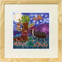 Badger in The Moonlight Giclee Batik Print